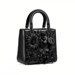 Dior Black Floral Embellished Lady Dior Bag