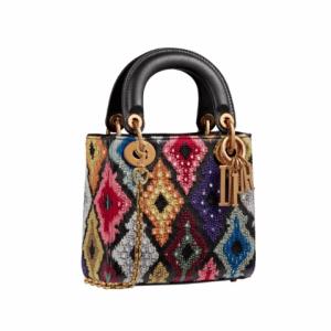 Dior Black/Multicolor Embellished Lady Dior Bag