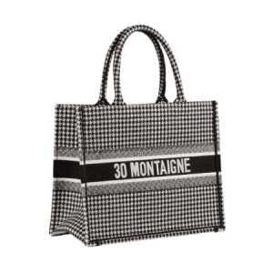 Dior Black/White Houndstooth Book Tote Bag