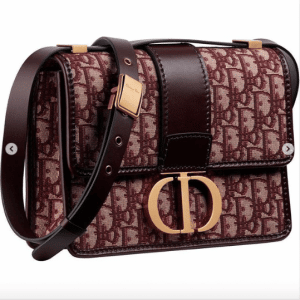 Dior Burgundy Oblique Canvas Montaigne Flap Bag