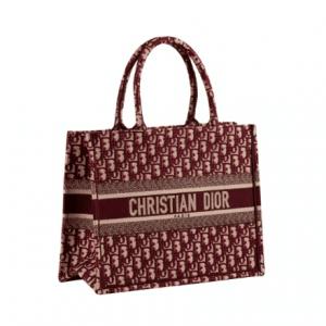 Dior Burgundy Oblique Canvas Small Book Tote Bag