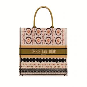 Dior Multicolor Embroidered Book Tote Bag