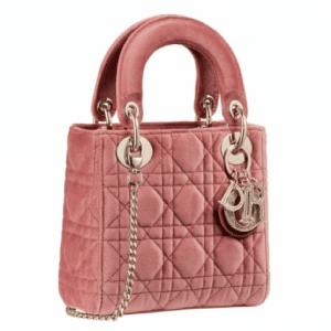 Dior Pink Suede Mini Lady Dior Bag