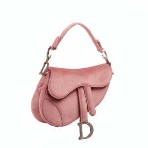 Dior Pink Suede Saddle Bag