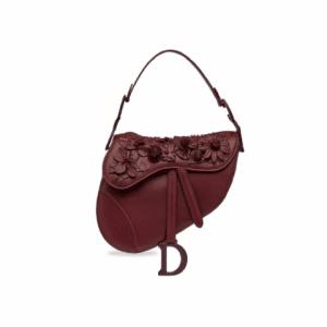 Dior Red Embellished Saddle Bag