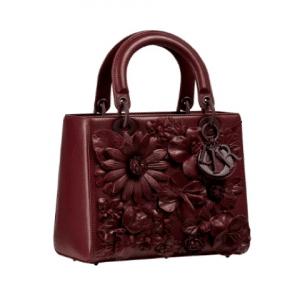 Dior Red Floral Embellished Lady Dior Bag