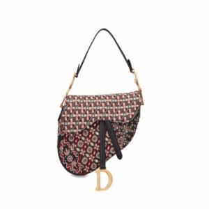 Dior Red/Black Embellished Saddle Bag