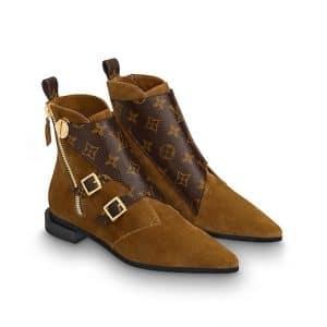 Louis Vuitton Cognac Brown and Monogram Canvas Jumble Ankle Flat Boot