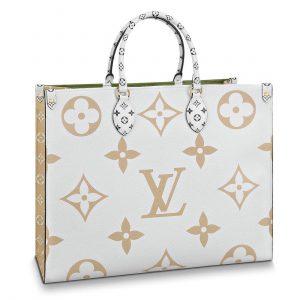 Louis Vuitton Khaki Green/White/Beige/Crème Beige Onthego Tote Bag 1