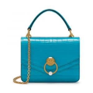 Mulberry Azure Croc Print Small Harlow Satchel Bag