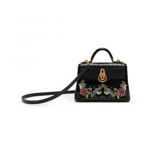 Mulberry Black Croc Print with Flower Crystals Micro Seaton Bag