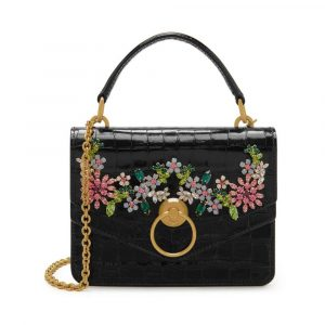 Mulberry Black Shiny Croc with Flower Crystals Small Harlow Satchel Bag