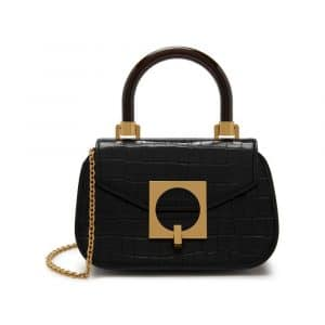 Mulberry Black Shiny Croc with Geometric Plaque The Mews Bag