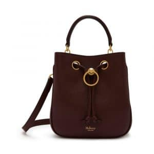 Mulberry Burgundy Small Classic Grain Small Hampstead Bag