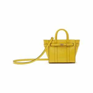 Mulberry Citrus Yellow Croc Print Micro Zipped Bayswater Bag