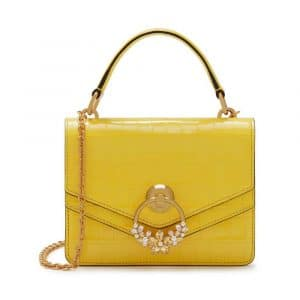 Mulberry Citrus Yellow Croc Print with Crystals Small Harlow Satchel Bag