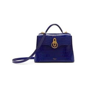 Mulberry Cobalt Blue Croc Print Mini Seaton Bag