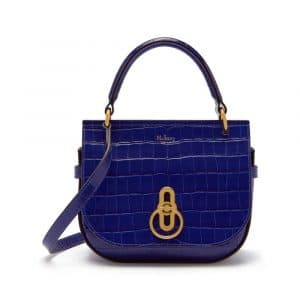 Mulberry Cobalt Blue Croc Print Small Amberley Satchel Bag