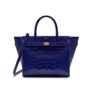 Mulberry Cobalt Blue Croc Print Small Zipped Bayswater Bag