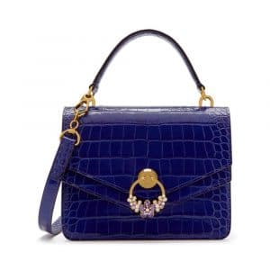 Mulberry Cobalt Blue Croc Print with Crystals Harlow Satchel Bag
