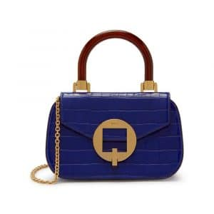 Mulberry Cobalt Blue Shiny Croc with Geometric Plaque The Mews Bag