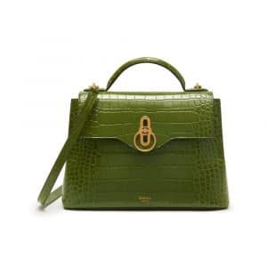 Mulberry Dark Olive Croc Print Small Seaton Bag