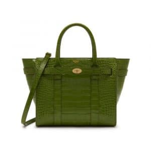 Mulberry Dark Olive Croc Print Small Zipped Bayswater Bag