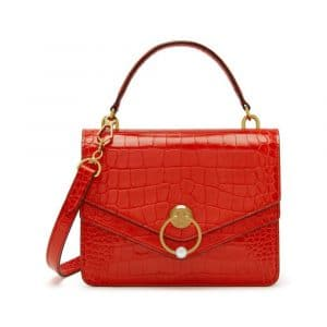 Mulberry Hibiscus Red Croc Print Harlow Satchel Bag