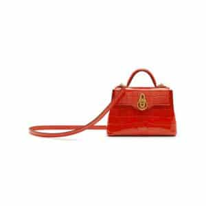 Mulberry Hibiscus Red Croc Print Micro Seaton Bag