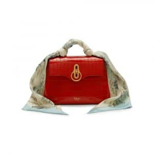Mulberry Hibiscus Red Croc Print Mini Seaton with Scarf Bag