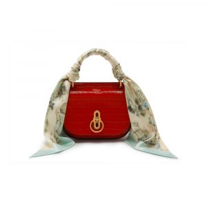 Mulberry Hibiscus Red Croc Print Small Amberley Satchel with Scarf Bag