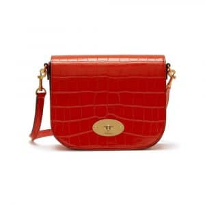 Mulberry Hibiscus Red Croc Print Small Darley Satchel Bag