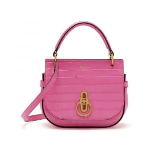 Mulberry Raspberry Pink Croc Print Small Amberley Satchel Bag