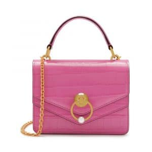 Mulberry Raspberry Pink Croc Print Small Harlow Satchel Bag