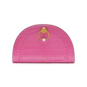 Mulberry Raspberry Pink Croc Print The Crescent Clutch Bag