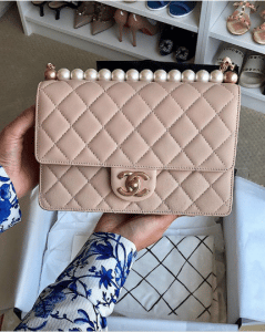 Chanel Beige Medium Chic Pearls Flap Bag