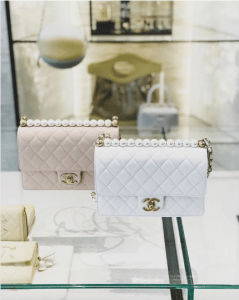 Chanel Beige and White Medium Chic Pearls Flap Bag