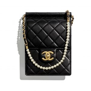 Chanel Black Chic Pearls Clutch With Chain Bag