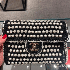 Chanel Black Crochet:Imitation Pearls Flap Bag
