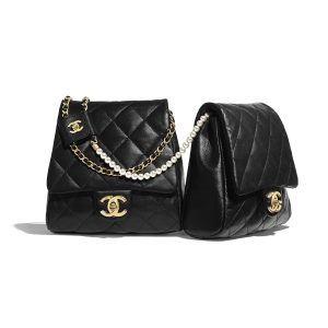 Chanel Black Lambskin with Imitation Pearls Side Packs Bag