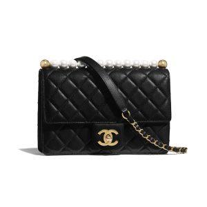 Chanel Black Medium Chic Pearls Flap Bag