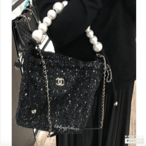 Chanel Black Tweed:Imitation Pearls Hobo Bag