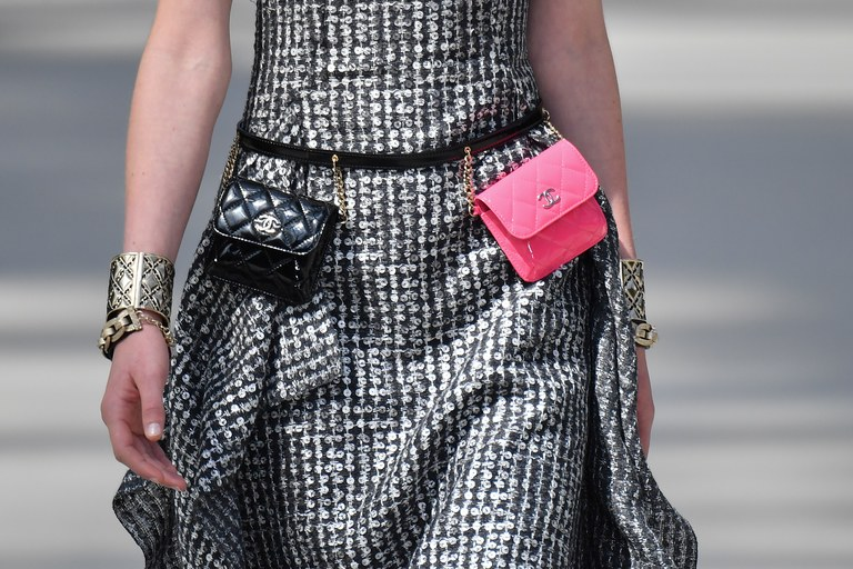 Chanel Black and Pink Mini Belt Bag