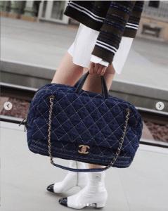 Chanel Blue Denim Bowling Bag