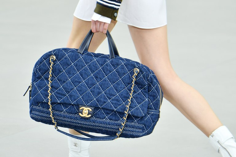 Chanel Blue Denim Bowling Bag