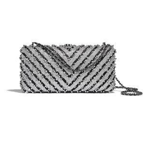 Chanel Navy:Green:Black & Ecru Mixed Fibers and Imitation Pearls Evening Bag