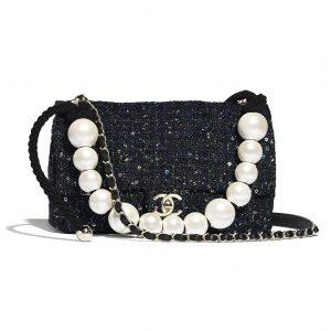 Chanel Navy/Green/Black & Ecru Tweed with Imitation Pearls Medium Flap Bag
