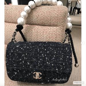 Chanel Navy:Green:Black & Ecru Tweed with Imitation Pearls Medium Flap Bag