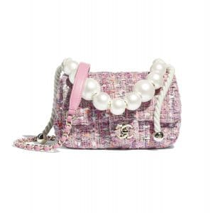 Chanel Pink:Beige:Orange & Ecru Tweed:Imitation Pearls Mini Flap Bag