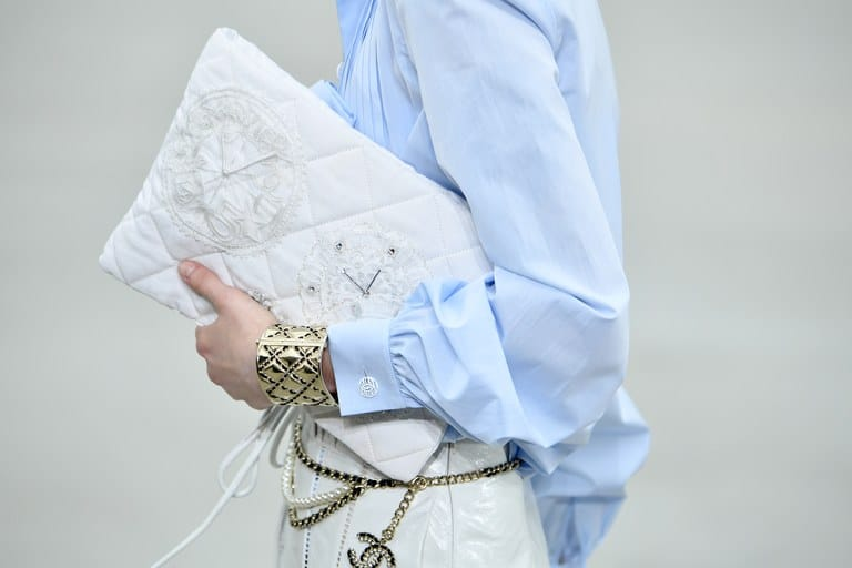 Chanel White Embroidered Pouch Bag